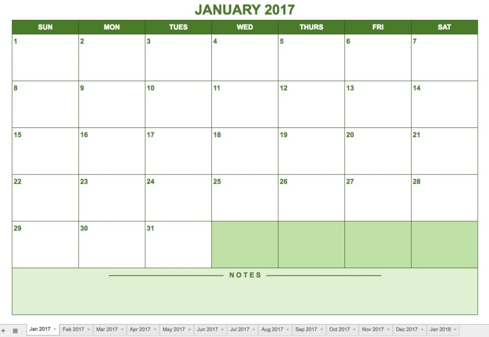 This Monthly Calendar Option Is Formatted In A Landscape View. Days Of The  Week Run From Sunday Through Saturday, And There Is Room For Notes At The  Bottom ...  Days Of The Week Calendar Template