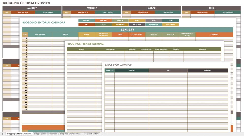 Free Social Media Calendar Templates Smartsheet - Blog content calendar template