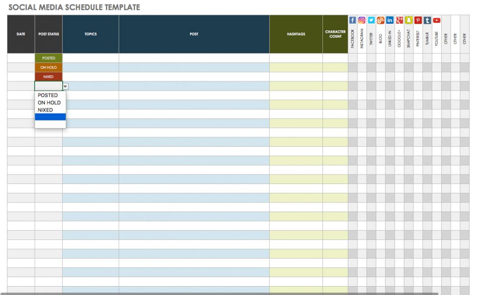 social media scheduling template