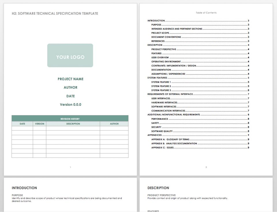 Free Technical Specification Templates Smartsheet - Software analysis document template
