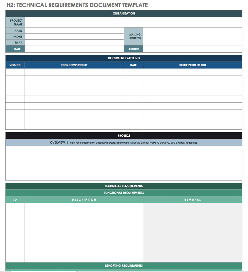 Free Technical Specification Templates Smartsheet - Requirements document template