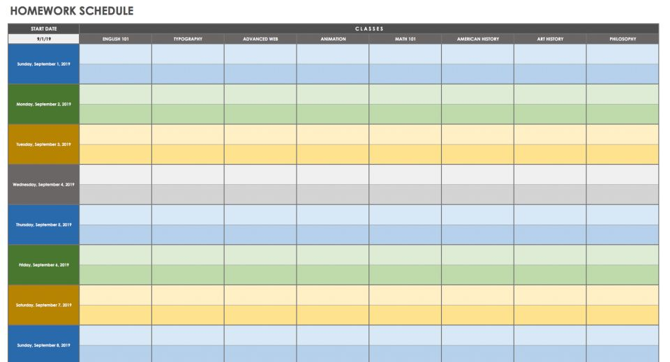week time schedule template