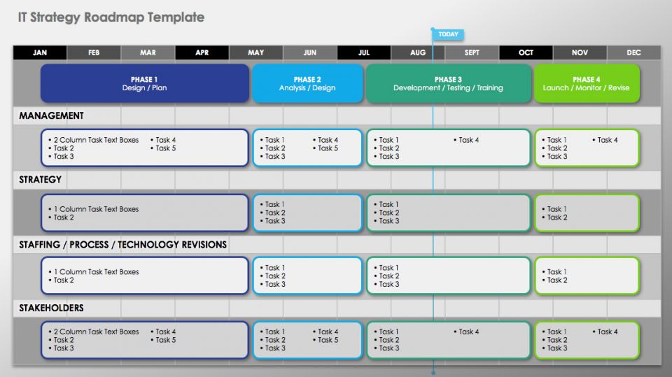 Free technology roadmap templates smartsheet create a strategic technology roadmap ppt slide with this free template outline the phases elements and timing of an it project and use the slide in a toneelgroepblik Gallery
