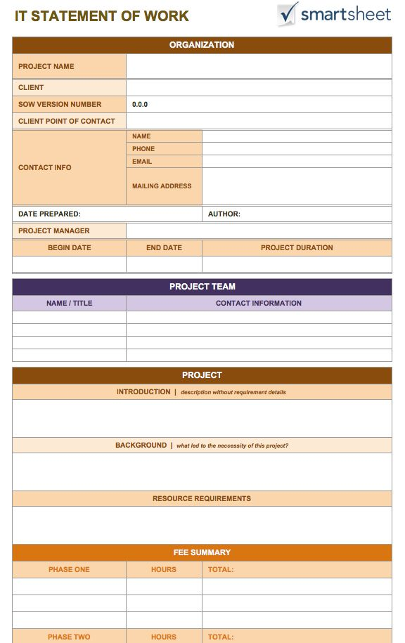 Free statement of work templates smartsheet for Statement of works template