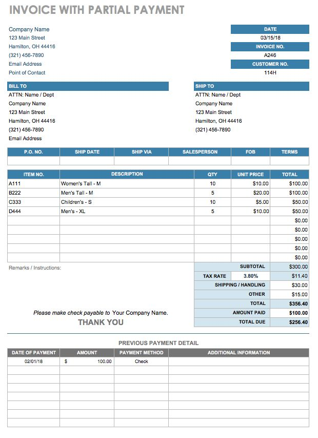 Invoice With Partial Payment Template  Payment Remittance Template