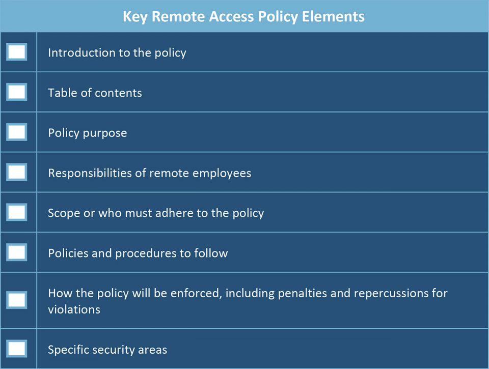 what should be included in a remote access policy