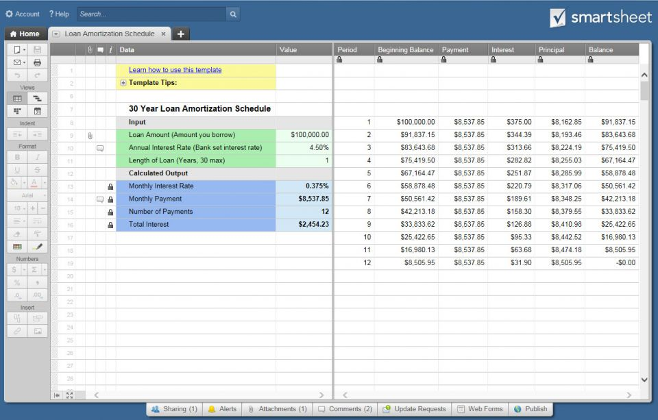 Free excel amortization schedule templates smartsheet for Amortization formula excel template