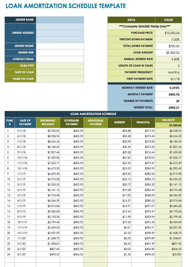 loan schedule template