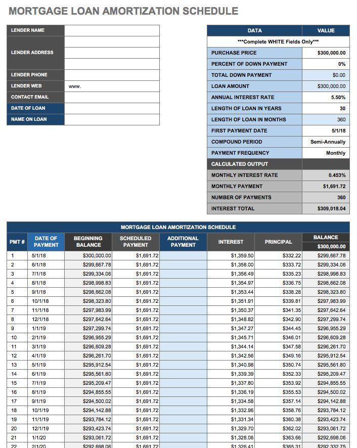 simple amortization calculator excel