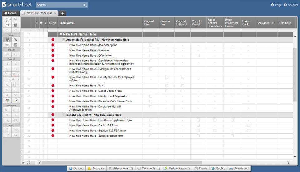 New Hire Checklist Smartsheet