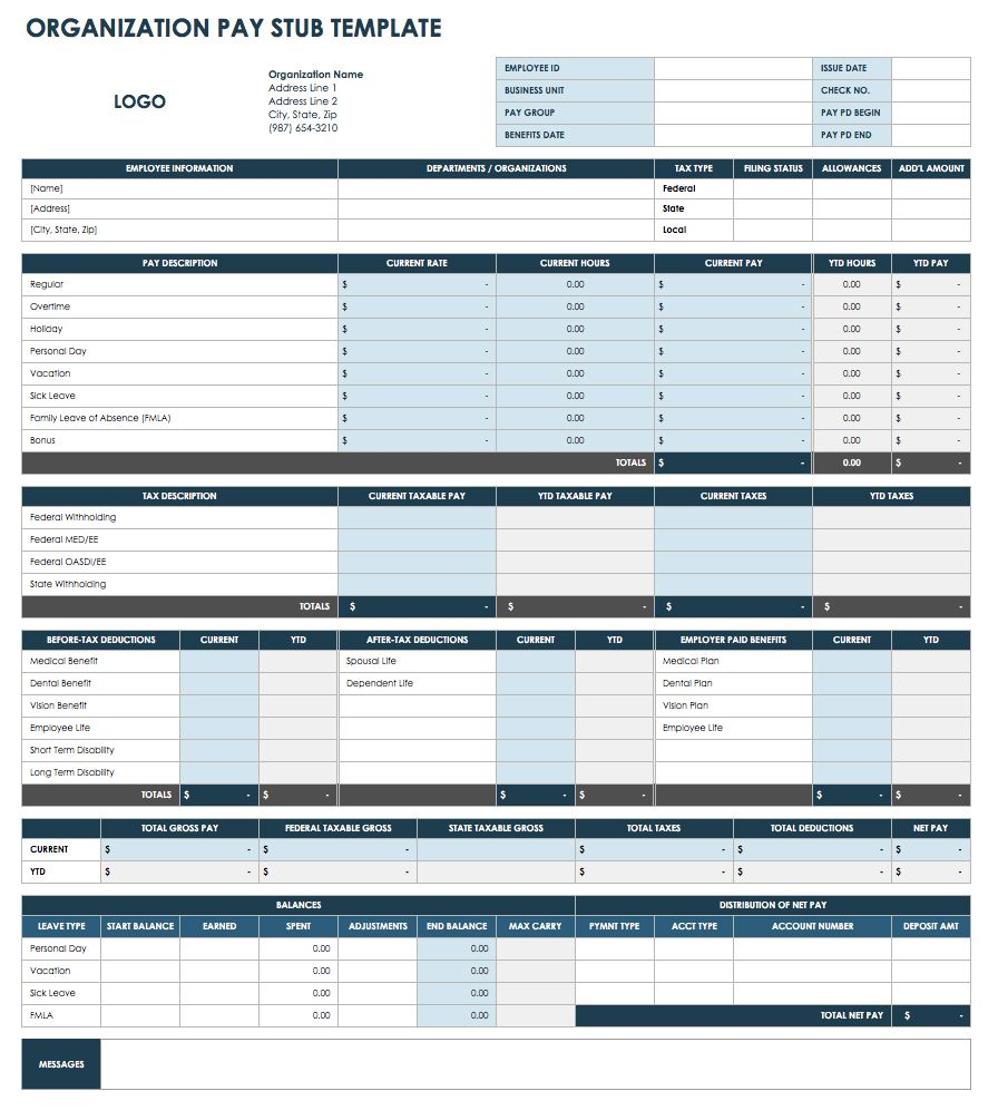 Organization Pay Stub Template   Excel  Free Paystub Templates