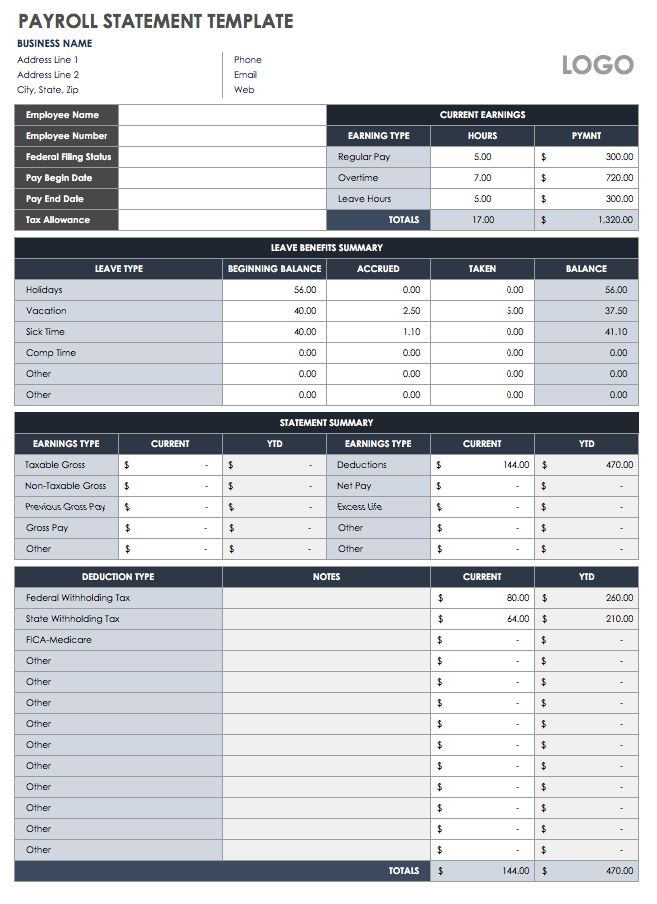 Payroll Statement Template  Excel Templates For Payroll