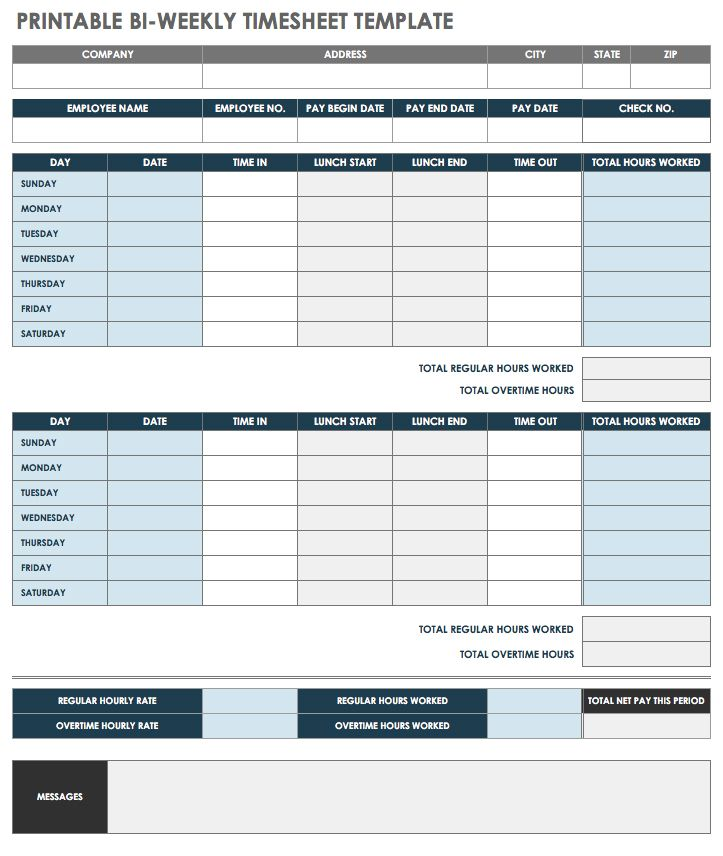 if you want a printable pdf template this biweekly time sheet provides sections for company and employee information daily and weekly hours worked