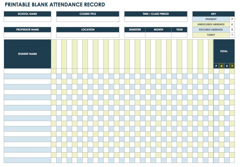 Nice If You Need A Blank Attendance Record Template, This PDF Version Has A  Basic Layout For Documenting Student Attendance For Whatever Dates You Want  To ... Ideas Attendance Template