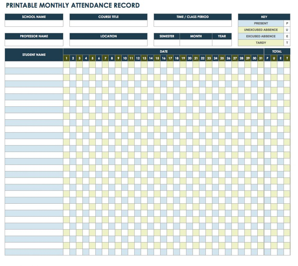 Free Attendance Spreadsheets and Templates – School Attendance Template