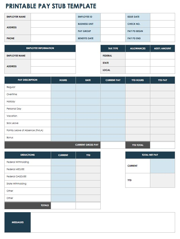 If Youu0027re Looking For Easy Printing, This Pay Stub Template Is Already In  PDF Format. Enter Information In All Of The Available Fields To Create An  ...  Paycheck Templates