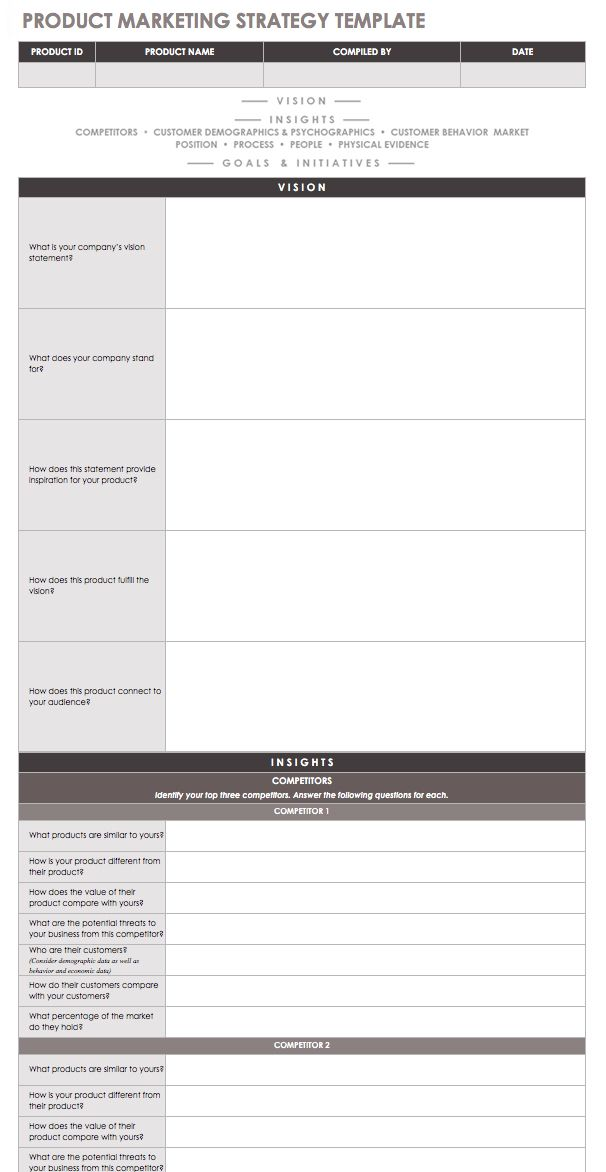Product Marketing Strategy Excel Template
