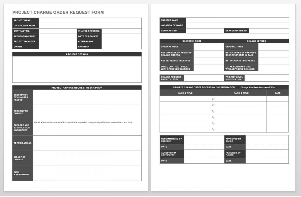 Complete Collection Of Free Change Order Forms | Smartsheet