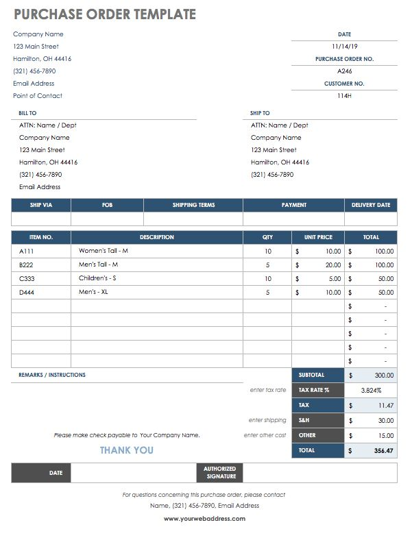 purchase order email template - 15 free work order templates smartsheet