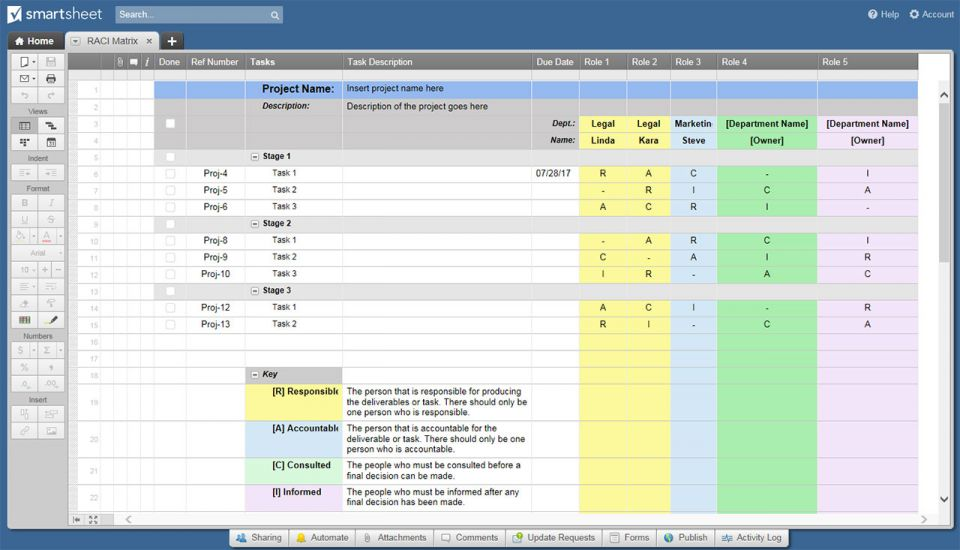 RACI- Matrix Template Smartsheet