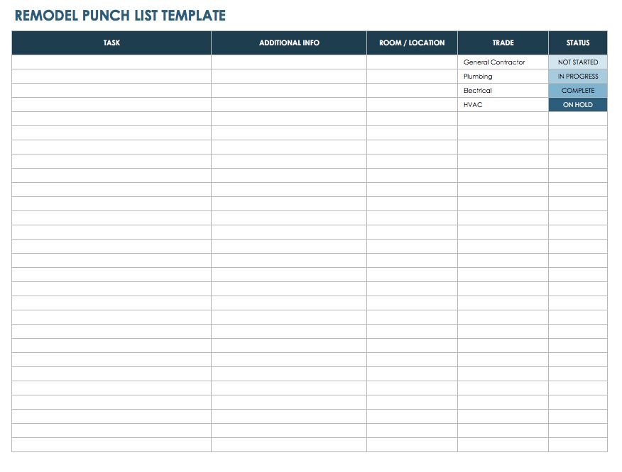 Free punch list templates smartsheet for Architectural materials list
