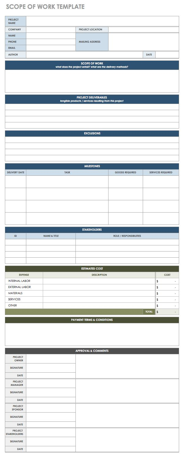 Free statement of work templates smartsheet for It scope of work template