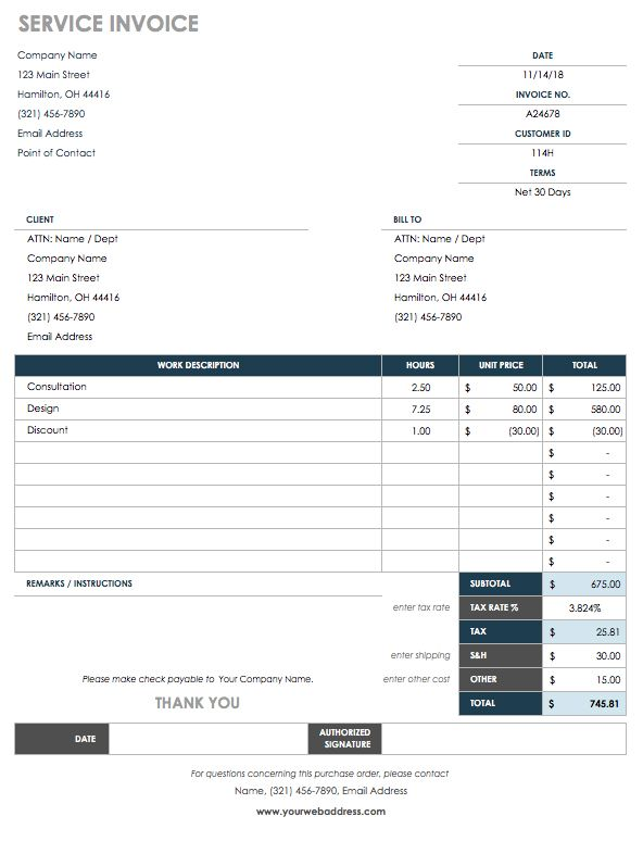 Service Invoice Template  Order Templates Free
