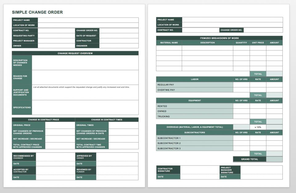 Complete Collection Of Free Change Order Forms Smartsheet - Construction contract change order template