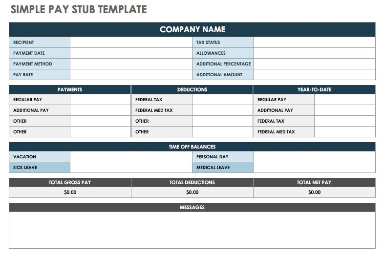 Simple Pay Stub Template   Excel  Check Stubs Template Free