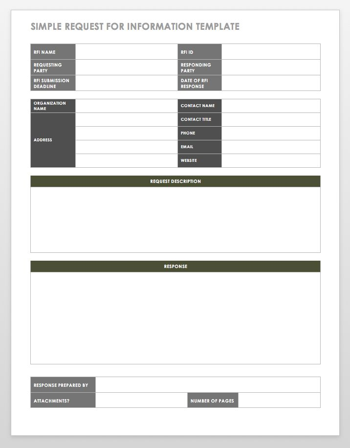 Free Request for Information Templates Smartsheet