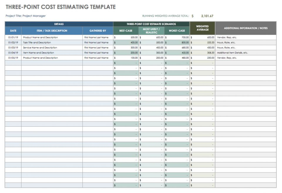 Download Three Point Cost Estimating Template   Excel  Cost Estimate Template Word