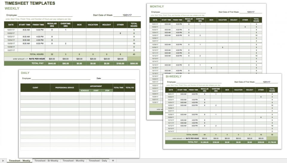 In Addition To Tracking Employee Attendance, A Timesheet Calculates Hours  Worked And Amounts Owed. Employees Can Use This Template For Tracking Their  Own ...
