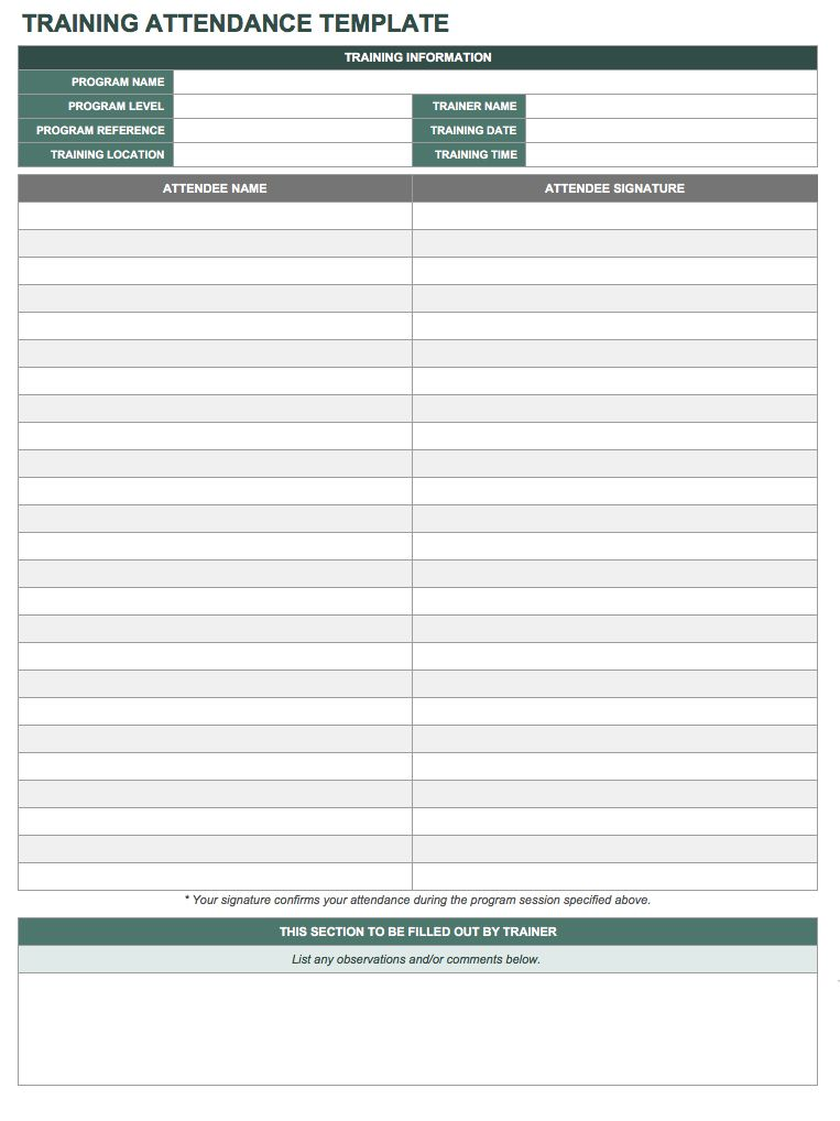 Training Attendance Sheet Template   Excel  Free Printable Attendance Sheets