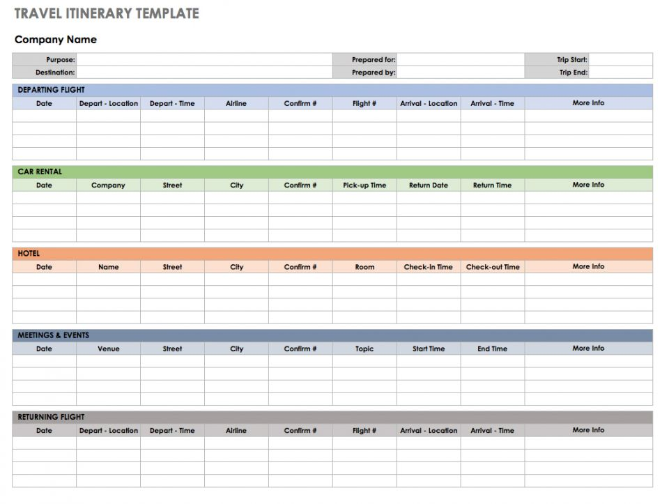 Itinerary Excel Template