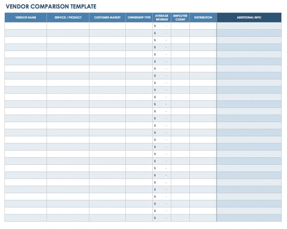 product comparison template excel