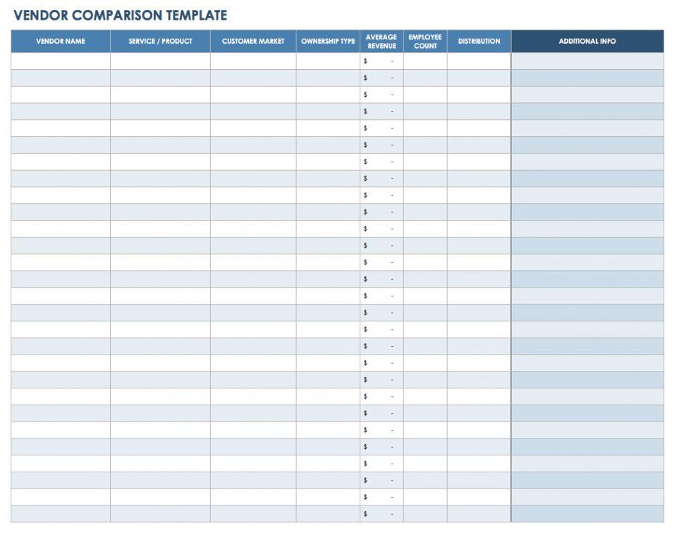 vendor template sheet