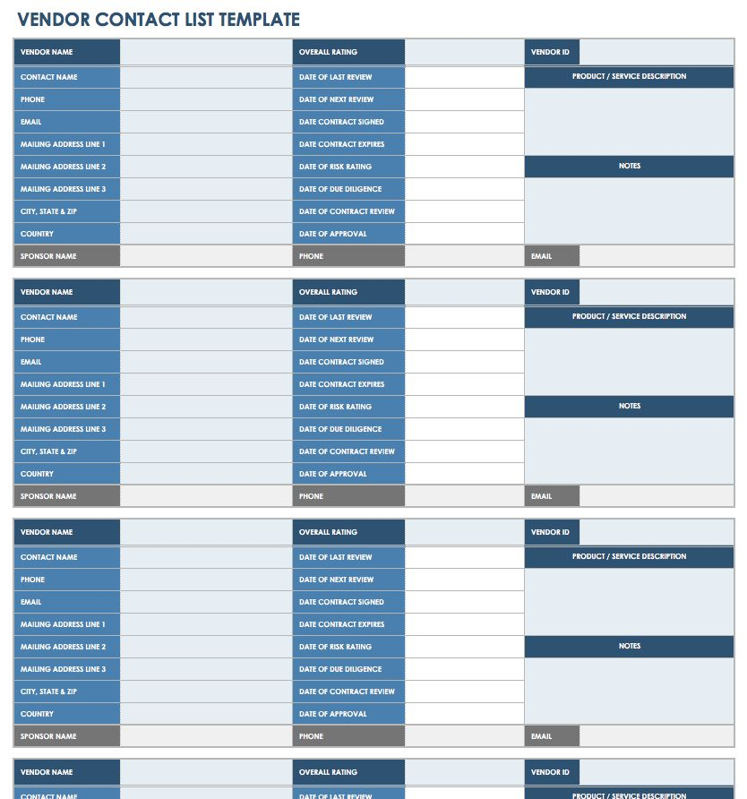 Vendor List Templates Master List Of Vendors Proposed Vendor