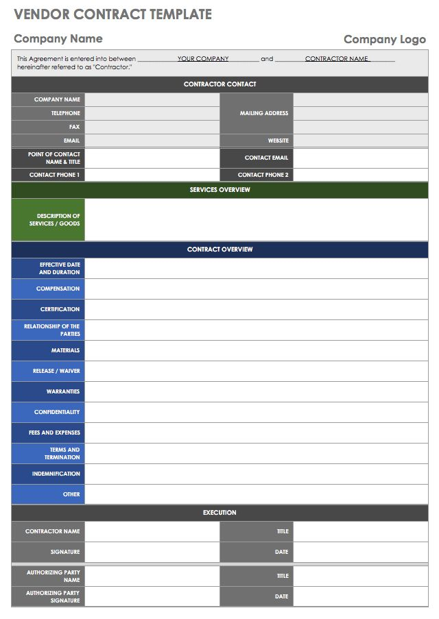 13 free vendor templates smartsheet for Vendor management excel template