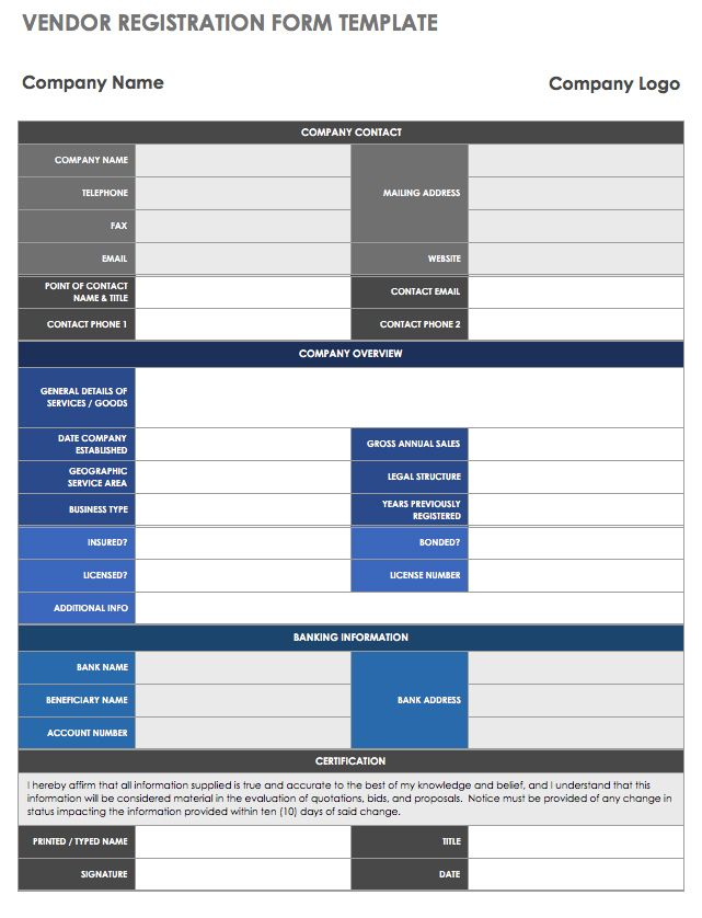 13 free vendor templates smartsheet once you have selected a new vendor you can use this registration form template for internal documentation or as an application form friedricerecipe Image collections
