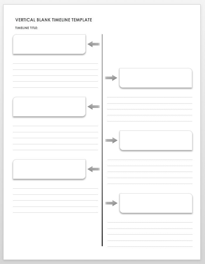 this blank timeline worksheet has a vertical layout and basic formatting so you can use it to create any kind of timeline you need
