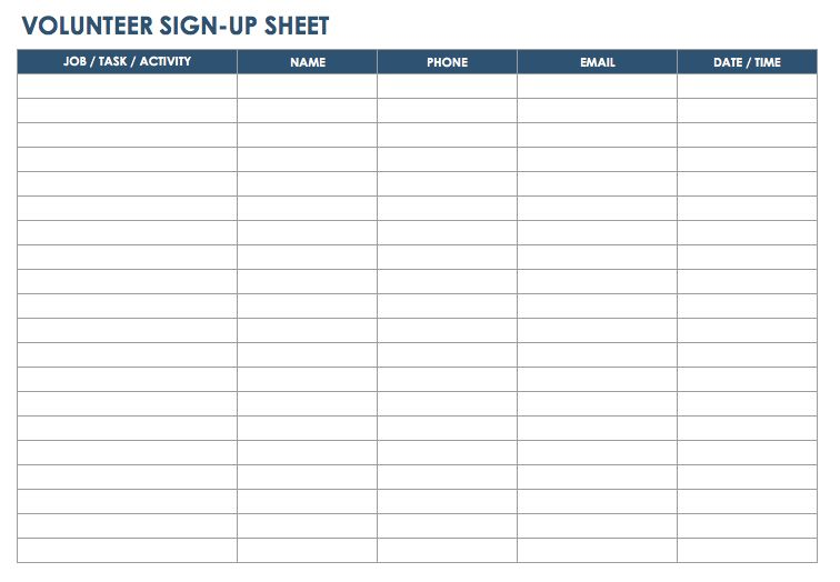 Task Sheet Template Volunteer Schedule Template   Free Word