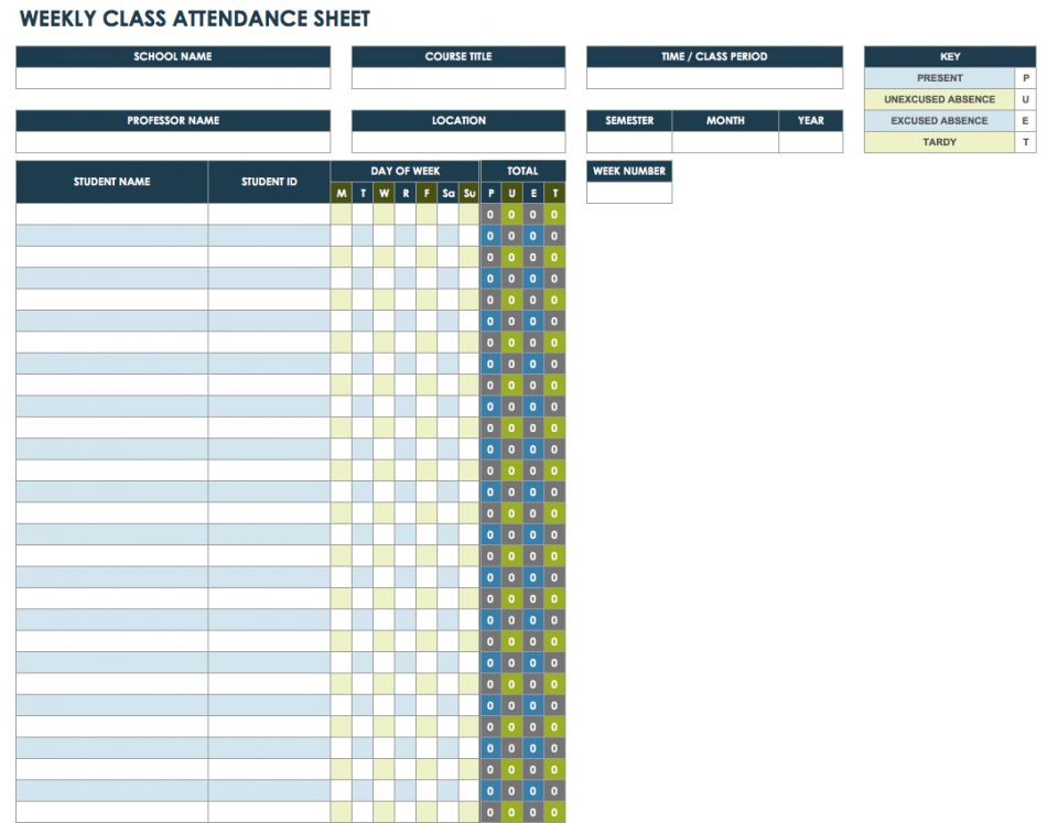 Free Attendance Spreadsheets and Templates – Sample Attendance Sheets