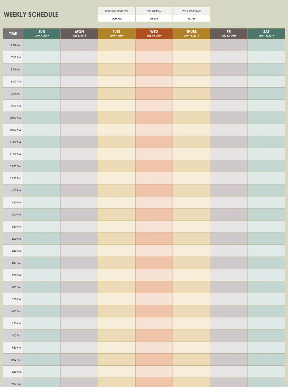 On this time management schedule template you can set the time interval and start date to suit your needs. Time intervals range from 10 to 120 minutes ...