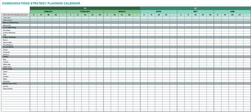 Free communication strategy templates and samples smartsheet for Strategic planning calendar template
