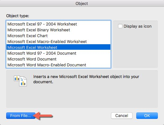 When The Insert Object Popup Window Appears, Click Microsoft Excel  Worksheet, And Then Click From File. This Opens A File Browser Window,  Where You Can ...  Degrees In Microsoft Word