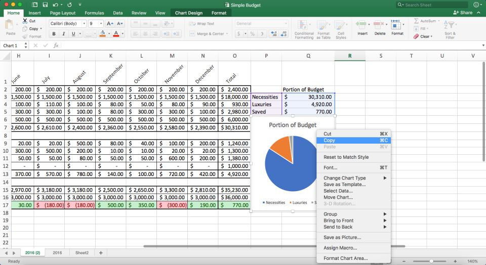 open the simple budget workbook that contains your table chart and spreadsheet in excel step 2 select and copy a range of cells a table or a chart
