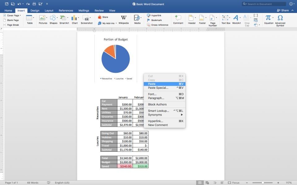 in your word document right click on your mouse and click paste to paste your chart and your selected excel worksheet content into your word document - 55 How Copy Excel Sheet Into Word Relevant