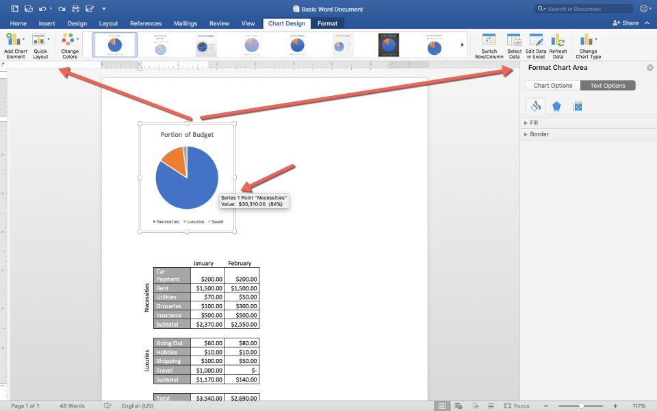 How to make a spreadsheet in excel word and google sheets smartsheet charts in word behave a lot like charts in excel when you single click a chart to select it it opens the chart design and format tabs so you can ccuart Gallery