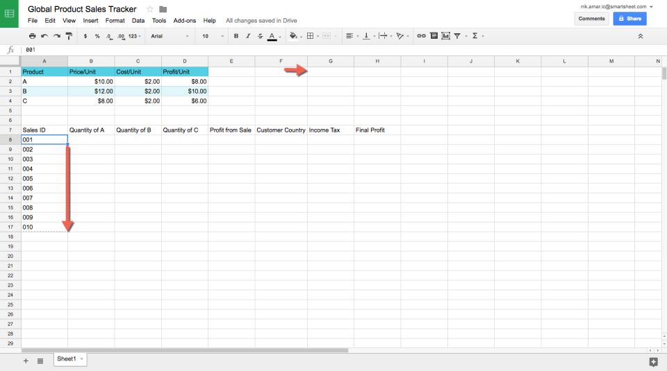 how to keep cells always at top google sheets
