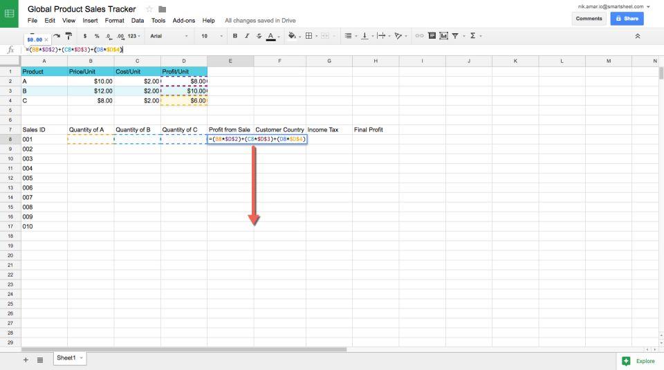 profit margin spreadsheet